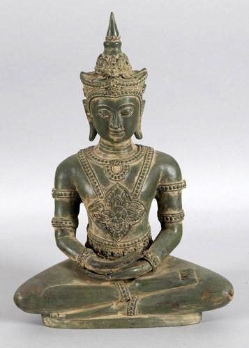 Skulptur des Buddha im Meditationssitz auf Thron, aus Bronze, Thailand...